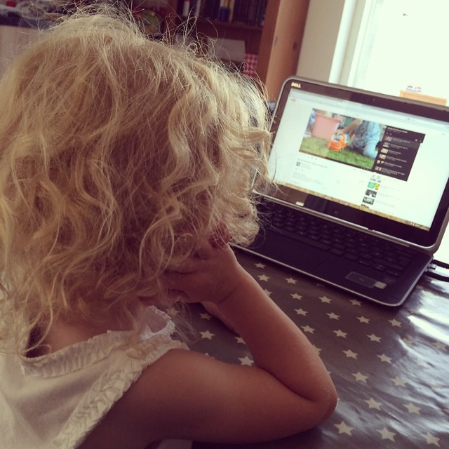 Watching herself on YouTube is the only thing stopping her from crying at the moment ? #poorlybaby