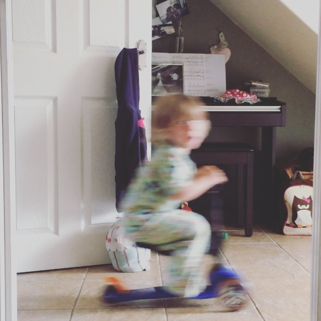 This is why I love my little man... Never a dull moment in our house! #crazy #toddler #scooter #random #funny #family #happy #fast