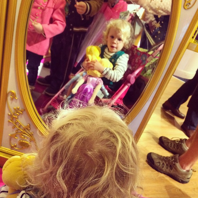 Whilst the boys are wet watching banger racing, the girlies are in the disney store loving all the princess things! #disney #princess
