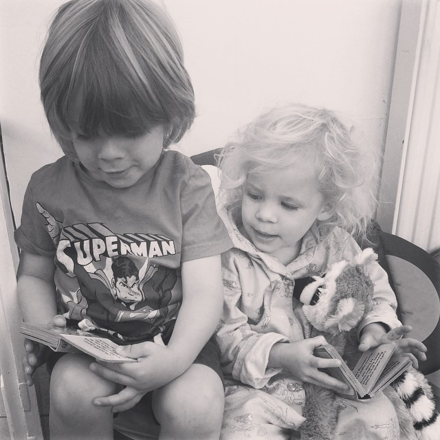 Isla insisted they read monkey some stories! #monkey #missed #family #toddler