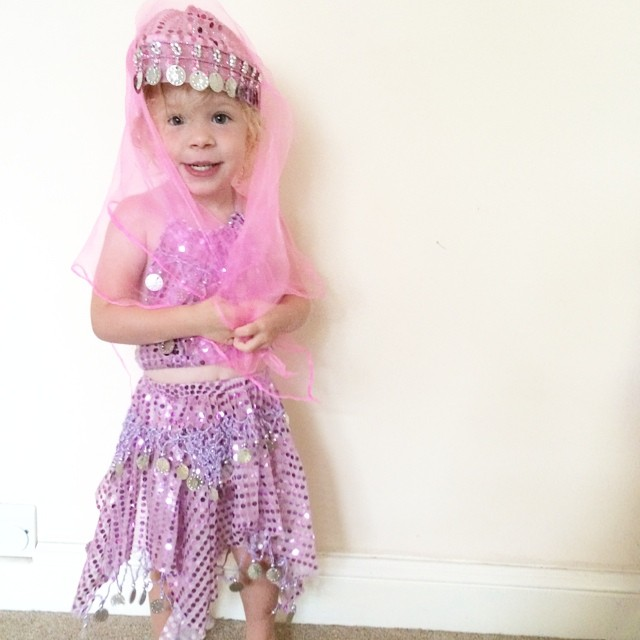 She loves her belly dancing outfit from Turkey. Thank you great grandma ?