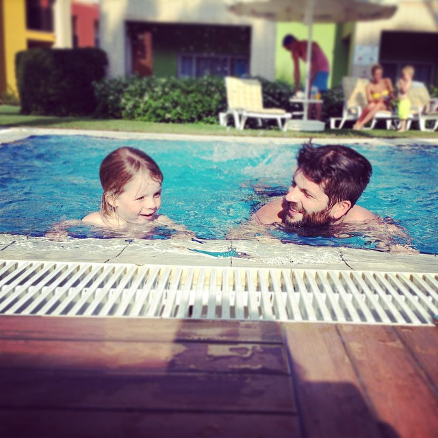 Daddy bear teaching baby bear to swim... #sweet #swimming #fun #holiday #family