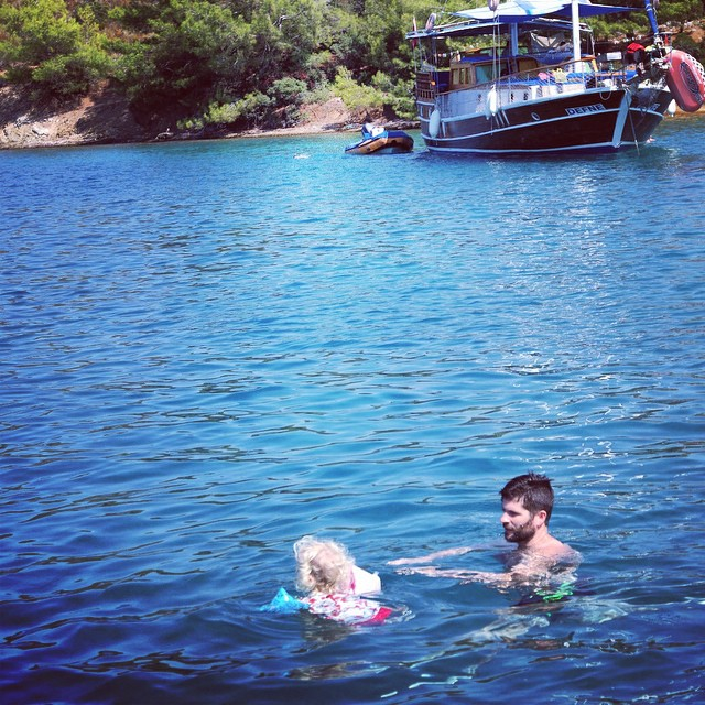 My super brave princess swimming with Daddy #fun #boattrip #swimming #sea #toddler
