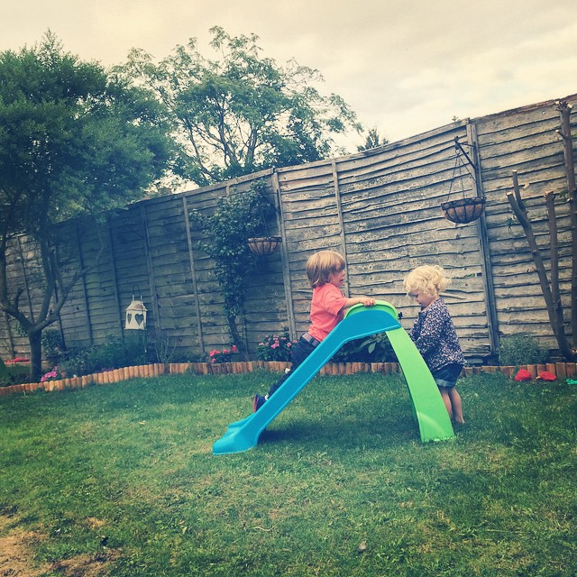 Last night playing on the slide... Love seeing them be happy together #playing #toddlers