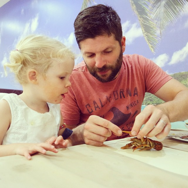 Daddy teaching Isla about a crayfish #Turkey #crayfish #dinner #toddler