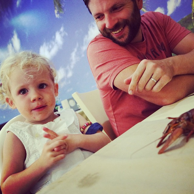 I don't think she was too impressed! #toddler #crayfish #holiday #explore #newfood