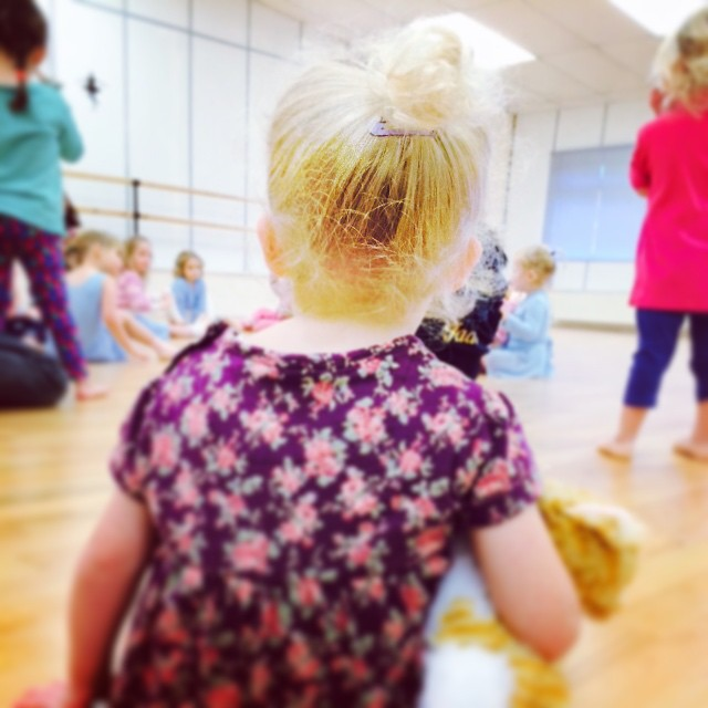 My little future ballerina at dance class this morning... Still a little weary but she participated a bit more than last week. #perseverance #dance #toddler #ballerina #weekendfun