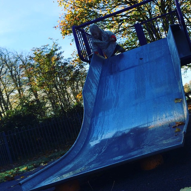 Wet slide = SUPER quick! Can I just note Isla didn't hurt herself she cried as her hands got wet! I'm not that mean... #slide #wet #park #fun #toddler