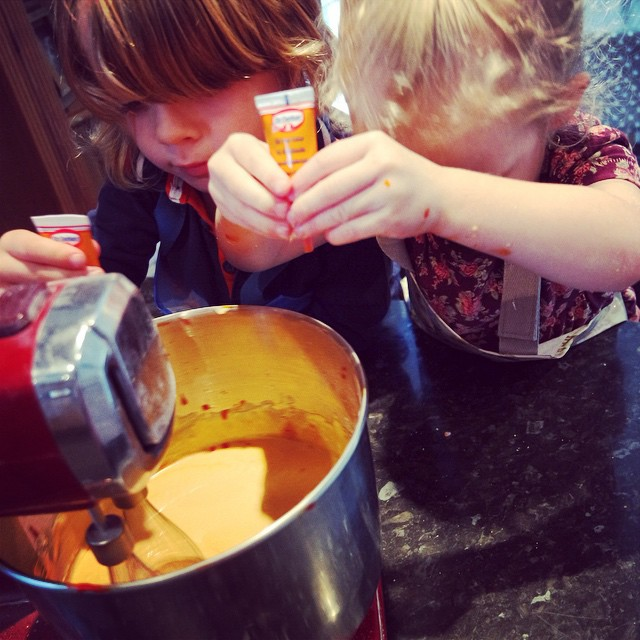 Earlier the kids helped make orange cake pops for Halloween... #baking #lifeskills #toddlers
