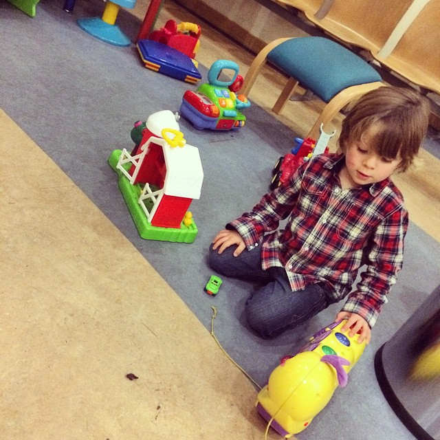 Thankfully there are plenty of toys at a&e keeping Noah entertained #clumsy #toddler #games #bang #cheekbones