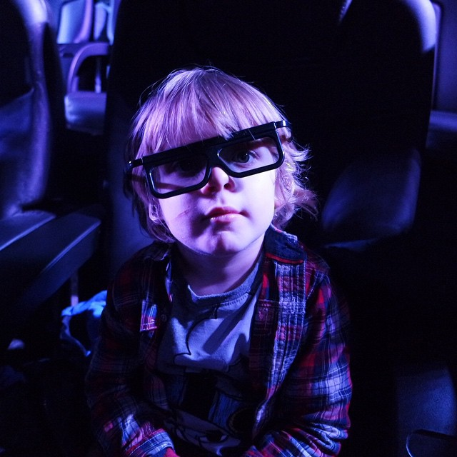 This is THE best photo of noah. Ever. Thank you daddy haha ? #4dcinema #polarexpress #thomasland