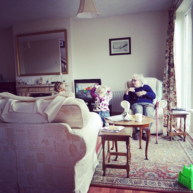 My view for the day, yesterday, I love watching them chatter away to grandma. Although I bet she's glad when we leave! #grandparents #greatgrandparents #family #love