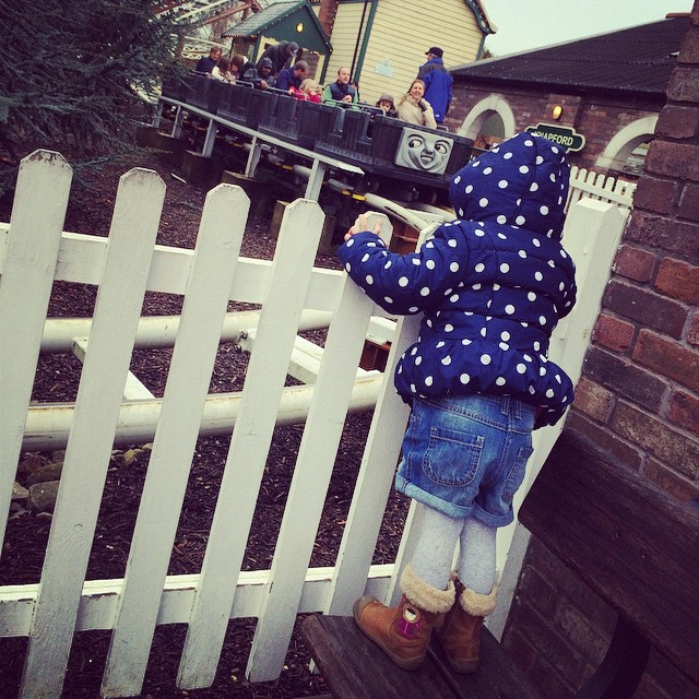 Still too small for the troublesome trucks... But she had lots of fun watching happy Noah #thomasland #christmas