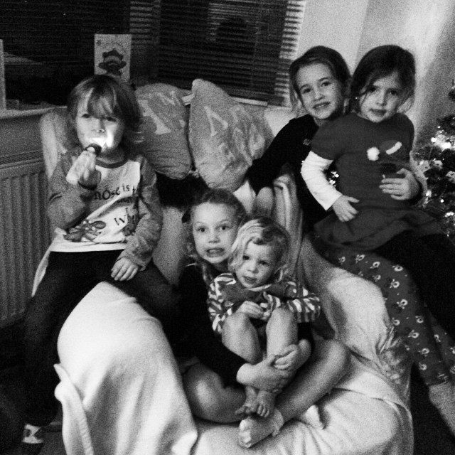 Of all the places they choose to sit... The kids had fun yesterday afternoon #friends #cute #Christmas #fun