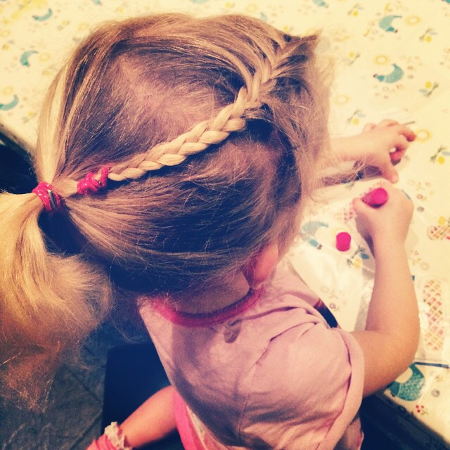 An attempt at a little creativity in Islas hair: how long will it last- about 10 minutes if I'm lucky. #hair #braid #plait #frozen #anna #toddler