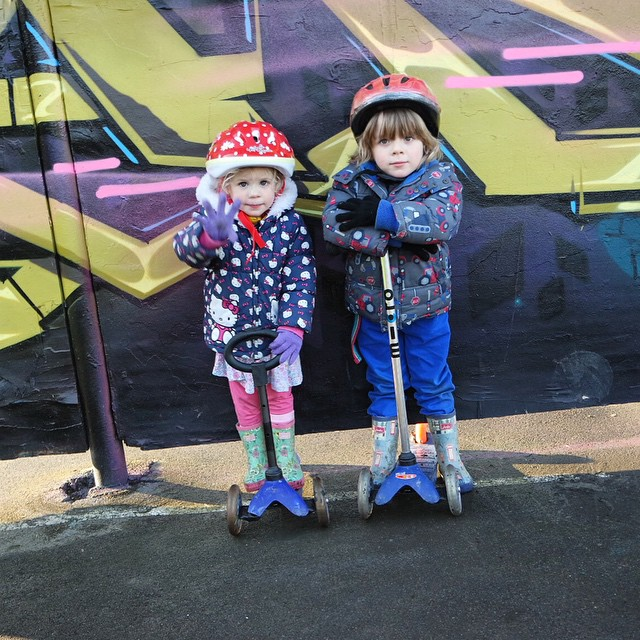 We had fun yesterday making the most of our local skate park. The bigger kids were fab. Noah wasn't bad himself. Isla liked pushing her scooter down the slopes ? #skatepark #scooter #outdoorfun #countrykids