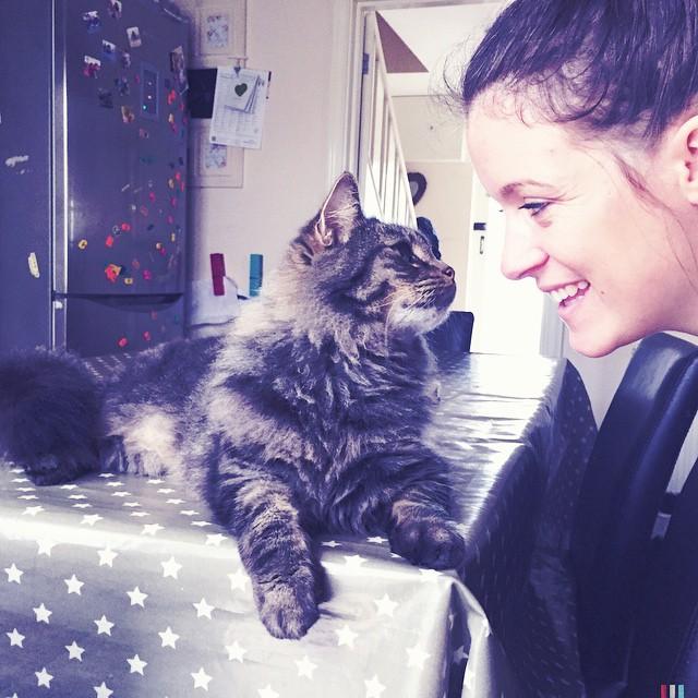 I'm glad I captured this photo too... My little Rockstar! ❤️ #catsofinstagram #raremoments #happy #family #cat