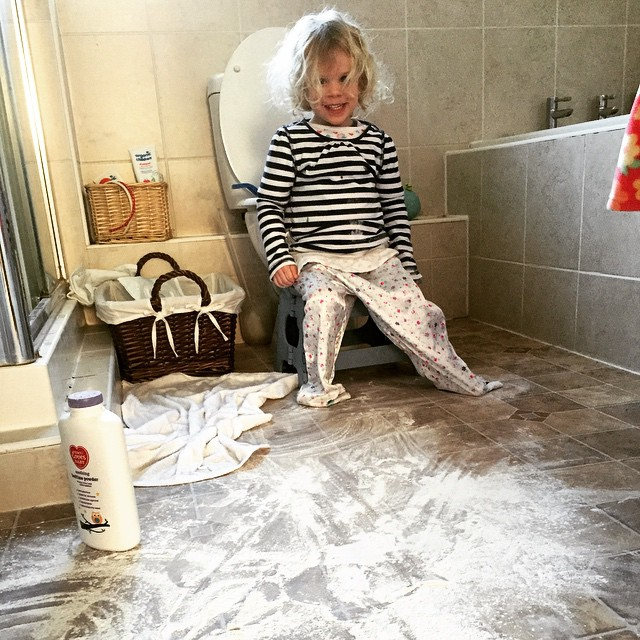 I think it was clear first thing this morning what kind of day it was going to be... #toddler #disaster #talc #bathroom #naughty #cheeky