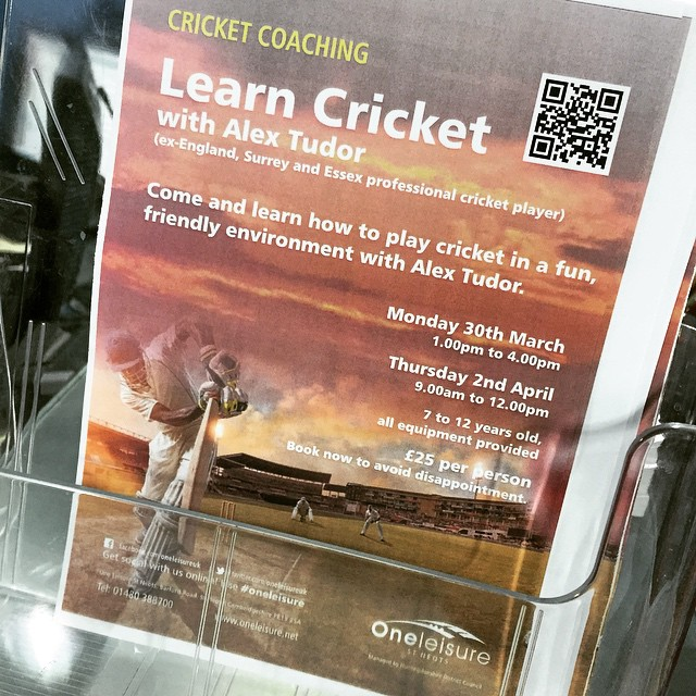 Learn cricket with #alextudor at St Neots leisure centre. #greatidea ? fitness #cricket #legend