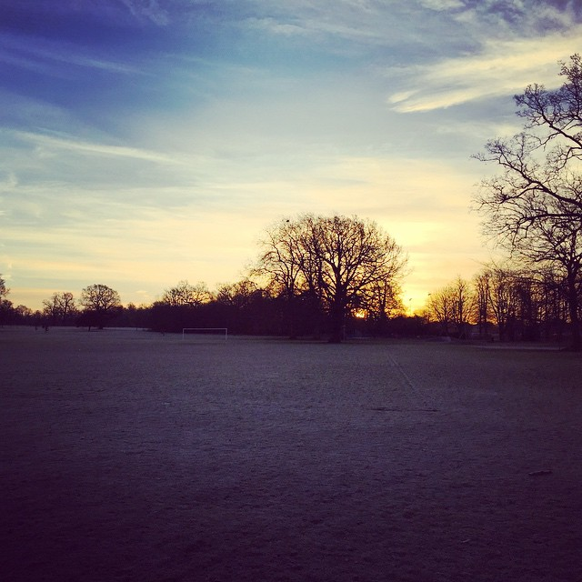 Sunrise over Priory Park looks pretty awesome in the frost #Cambridgeshire #goodmorning #cold #landscape