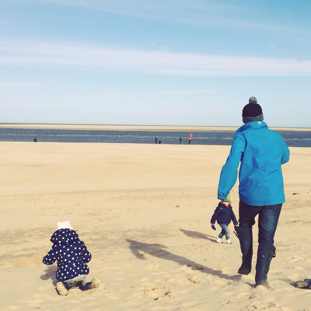 #countrykids #outdoorfun on the beach at Wells next to sea, Norfolk! Perfect weather for a welly throwing contest, walk and fun in the woods. #family #love #happy