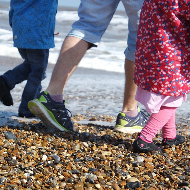 The moment daddy got soaking wet trainers #beach #trainers #wavejumping #happy #family ☺️