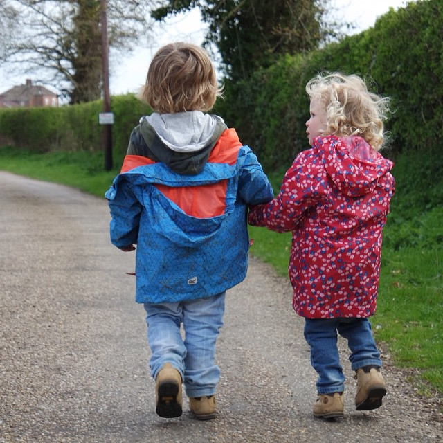 I love these two little beauties. They've been, on the whole, really good this week. #siblings #helping #happy #walking #farm