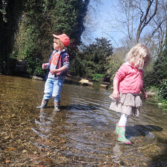 I loved watching these two explore Ashwell Springs today, they really enjoyed it and reminded me of my #childhood. #happy #memories #family #outdoorfun #springs #ashwell #stream #wellyadventure