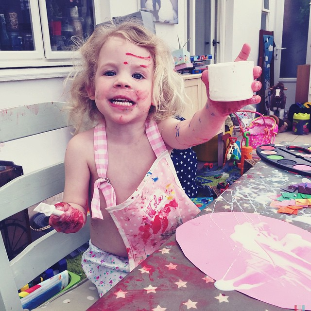 I think someone has enjoyed a crafty morning #paint #glue #stickers #glitter #foam #felt #pegs #straws #tape #tissuepaper #everywhere