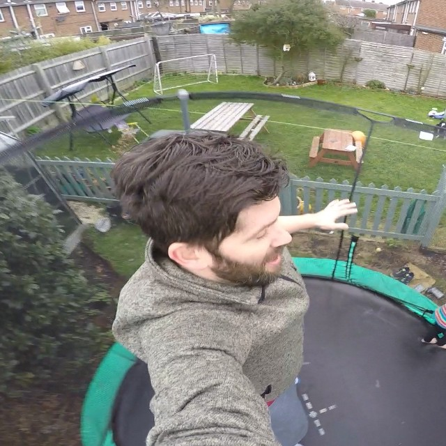 Daddy's first #GoPro video on the trampoline with the little ones. #fun #trampoline #jump #action #wideangle #happy #shot #footage #goproing