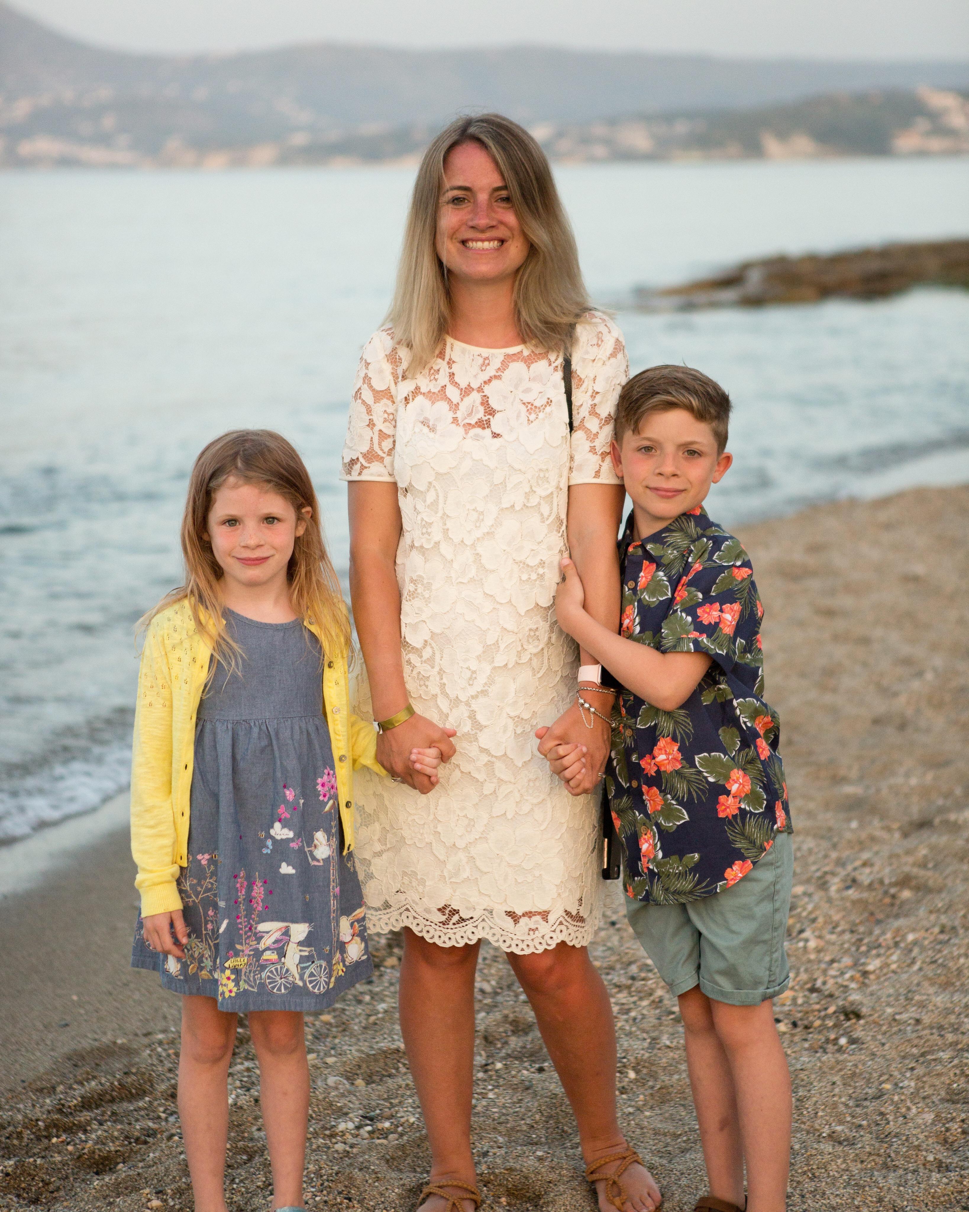 Mum and kids on the beach