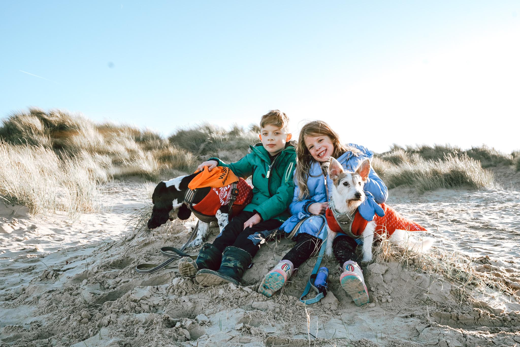 Siblings beach day